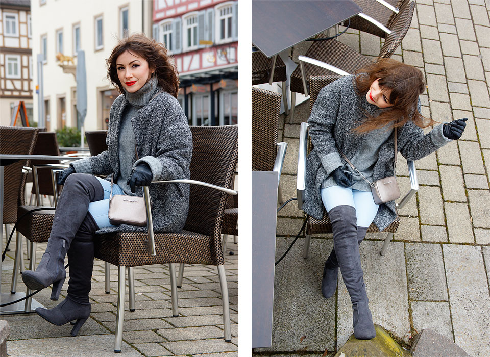 Oversize Pullover und Overknees